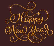 Happy New Year text on on brown background. Hand drawn Calligraphy lettering Vector illustration EPS10 Royalty Free Stock Photos