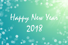 2018 Happy New Year text for card for your design on aqua background Stock Photo