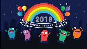 2018 Happy New Year. Fun 2018. Vector illustration. Banner. Poster. 2018 Happy New Year text for card for your design. Fun 2018. Vector illustration. Banner Royalty Free Stock Photo