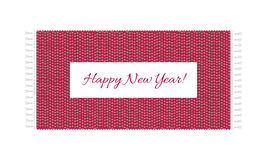 Happy New year text on carpet background, top view of rug. Vintage illustration. Stock Image