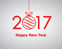Happy New Year 2017 with text and Christmas ball. Vector illustration. Happy New Year banner with Christmas ball Stock Photos