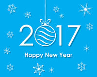 Happy New Year 2017 with text and Christmas ball. Vector illustration. Happy New Year banner with Christmas ball and snowflakes stock illustration