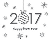 Happy New Year 2017 with text and Christmas ball. Vector illustration. Happy New Year banner with Christmas ball and snowflakes Royalty Free Stock Photos