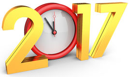 Happy new year 2017 text with clock. On white background 3D illustration Royalty Free Stock Photography