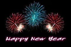 Happy New Year text with fireworks background. Happy New Year text with colorful fireworks background Stock Photography