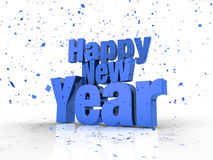 Happy New Year Text With Confetti In Blue. Happy New Year 3d Text With Confetti In Blue Stock Photo