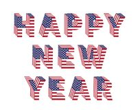 Happy New Year text 3d letter American flag folded. Happy New Year text from 3d letters with American flag folded. Vector holiday design for greeting card Royalty Free Stock Photos