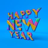 Happy New year text 3d rendering Royalty Free Stock Photo