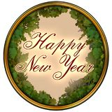 Happy New Year text in dark red on a pink background with oak tree leaves frame Royalty Free Stock Photo