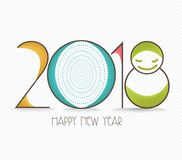 Happy new year 2018 text design.  Stock Images