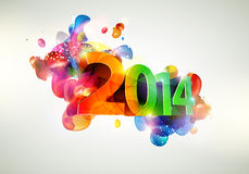 Happy new year 2014. Text Design Royalty Free Stock Photo