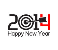 Happy new year 2014 text design. With arrow at the target Royalty Free Stock Images
