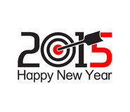 Happy new year 2015 text design. With arrow at the target Royalty Free Stock Photos
