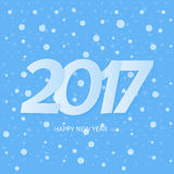 Happy New Year 2017 Text Design. Blue Background With Snow. Happy New Year 2017 Text Design Blue Background With Snow Stock Image