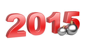 Happy new year 2015 Text Design with bright balls Stock Photos