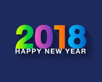 Happy new year 2018 text design. Colorful modern text with long. Shadow on dark blue background. Vector illustration Stock Images