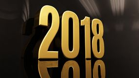 Happy New Year 2018 Text Design 3D Illustration. Gold Happy New Year 2018 Text Design 3D Illustration, Golden 2018 Happy New Year Festive Background for Your Royalty Free Stock Photography
