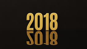 Happy New Year 2018 Text Design 3D Illustration. Gold Happy New Year 2018 Text Design 3D Illustration, Golden 2018 Happy New Year Festive Background for Your Royalty Free Stock Photos