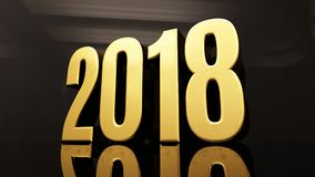 Happy New Year 2018 Text Design 3D Illustration. Gold Happy New Year 2018 Text Design 3D Illustration, Golden 2018 Happy New Year Festive Background for Your Royalty Free Stock Image