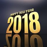Happy New Year 2018 Text Design 3D Illustration. Gold Happy New Year 2018 Text Design 3D Illustration, Golden 2018 Happy New Year Festive Background for Your Stock Image