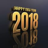 Happy New Year 2018 Text Design 3D Illustration. Gold Happy New Year 2018 Text Design 3D Illustration, Golden 2018 Happy New Year Festive Background for Your Stock Photography