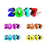 Happy new year 2017,text design,3d vector illustration. Happy new year 2017,text design,3d design,vector illustration Stock Photography