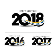 Happy new year 2018 - 2017 - 2016 Text Design Stock Image