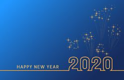 2020 Happy New Year text design with golden numbers on blue background with fireworks. Holiday banner, poster, greeting card or invitation template. Year of stock illustration
