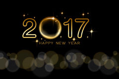 Happy new year 2017 text design with golden star and black backg. Round. Vector illustration Royalty Free Stock Photography
