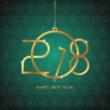 Happy new year 2018 text design. Golden text in form christmas b Royalty Free Stock Images