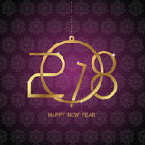 Happy new year 2018 text design. Golden text in form christmas b Stock Image