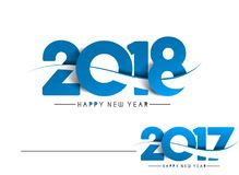 Happy new year 2017 and 2018 Text Design. Vector illustration Royalty Free Stock Image