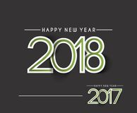 Happy new year 2017 and 2018 Text Design. Vector illustration Stock Photo