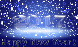 Happy New Year 2017 text design.  illustration. With a white  and blue numbers Royalty Free Stock Photography