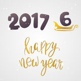 Happy new year 2017 or 2016 Text Design  Royalty Free Stock Image