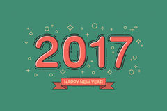 Happy new year 2017 text design. Line flat design. Retro color. Vector illustration Stock Photo