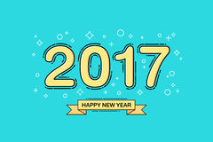 Happy new year 2017 text design. Line flat design. Vector illustration Royalty Free Stock Photos