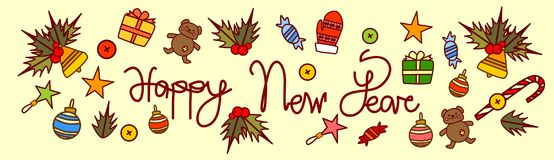 Happy New Year Text Design On Merry Christmas Background Hand Drawn Style Horizontal Poster Stock Image