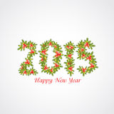 Happy New Year 2015 text design with mistletoe. Beautiful 2015 text design made by fir trees and mistletoe for Happy New Year celebration on shiny grey vector illustration