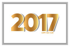 Happy new year 2017 text design paper cut style. Vector illustration Royalty Free Stock Photos