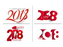 Happy new year 2018 Text Design Royalty Free Stock Image