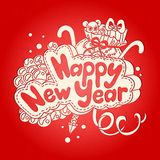 Happy new year text design on a red background. Hand drawing.  Stock Image