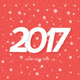 Happy New Year 2017 Text Design. Red Background With Snow. Happy New Year. 2017 Text Design. Red Background With Snow Royalty Free Stock Photo