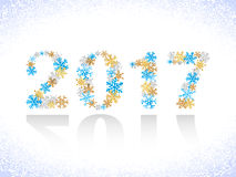 Happy New Year 2017 text design. Snowflakes numbers. Vector illustration Stock Photography
