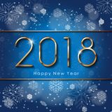 2018 Happy New Year text design with snowflakes. Vector greeting illustration with golden numbers on blue background. 2018 Happy New Year text design with Royalty Free Stock Image