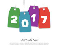 Happy new year 2017 Text Design template. Realistic vector template with copyspace for text. Colorful paper tags Stock Image