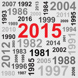 Happy New Year 2015 Text Design. Text design 2015 with various memorable years Stock Image