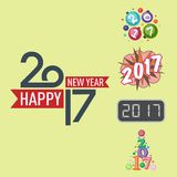 Happy new year 2017 text design vector creative graphic celebration greeting party date illustration. Eve decoration christmas season happy holiday number Royalty Free Stock Image