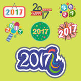 Happy new year 2017 text design vector creative graphic celebration greeting party date illustration. Eve decoration christmas season happy holiday number Royalty Free Stock Photos