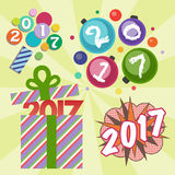 Happy new year 2017 text design vector creative graphic celebration greeting party date illustration. Eve decoration christmas season happy holiday number Stock Image